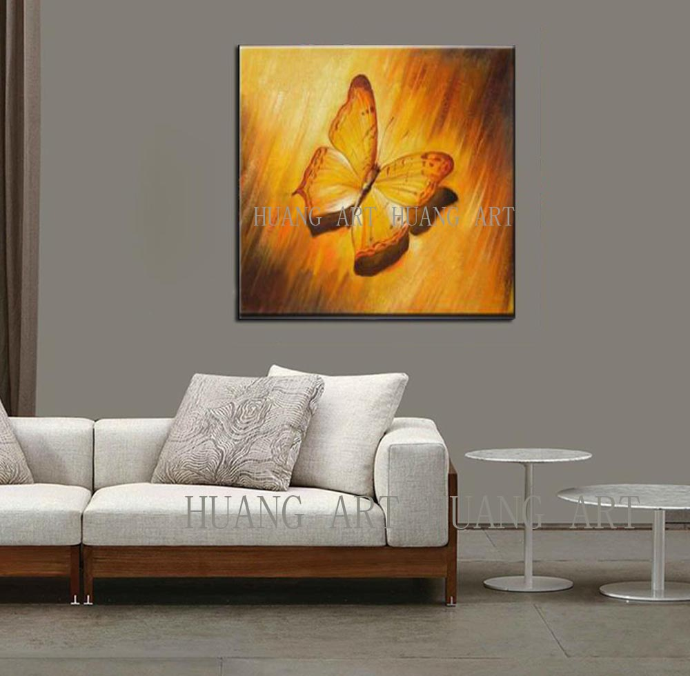 Handpainted Abstract Colorful Rainbow Butterfly Art Oil Painting On Canvas Best Gift Home Decor Hang Animal Pictures Wall Art in Painting Calligraphy from Home Garden