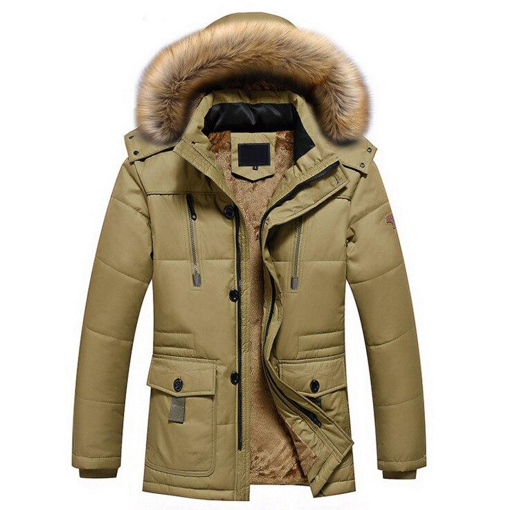 2017 зимние Куртки Для мужчин повседневные утепленные теплые куртки новая мода меховой воротник с капюшоном Водонепроницаемый ветрозащитны...