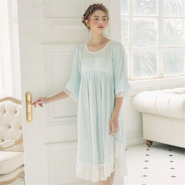 1697c1ea8 Cotton Sleepwear Vintage Dress Women Nightgown Casual Sleepwear ...