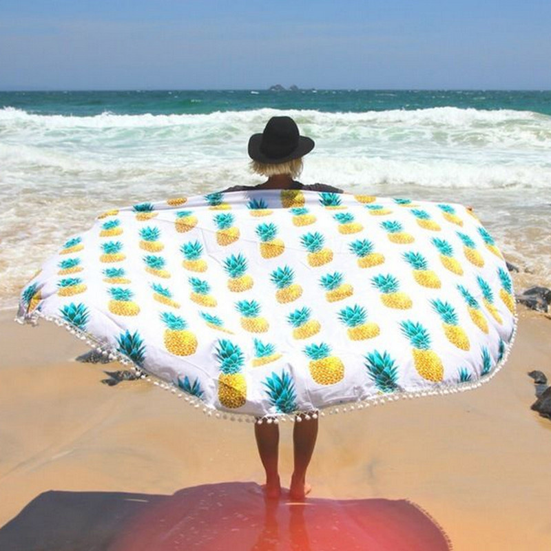 Pineapple Indian Mandala Round Tapestry Summer Boho Hippie Beach Throw Towel Rug Roundie Yoga Mat Tablecloth Home Decor 148cm