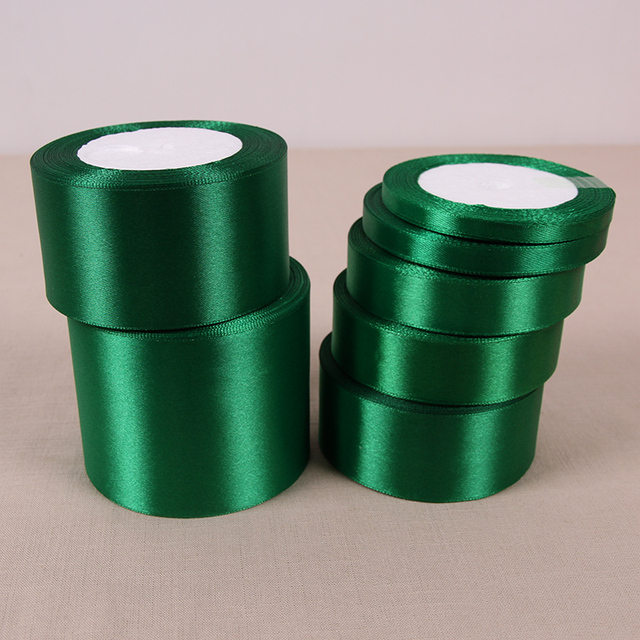 Geinne 6mm 50mm Wide 250 Yards 10rolls Dark Green Single Face Satin Ribbon Whole Gift