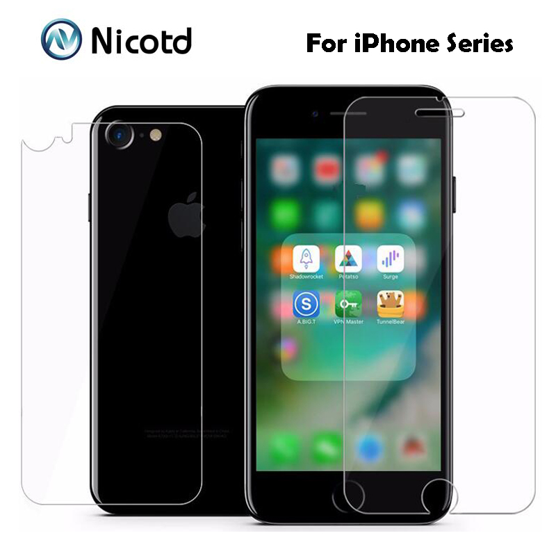 2Pc/Lot 9H 2.5D Coated Front+Back Tempered Glass For IPhone 8plus X 7 6s 6 Plus 5s 5 SE 4s ExplosionProof Screen Protector Film