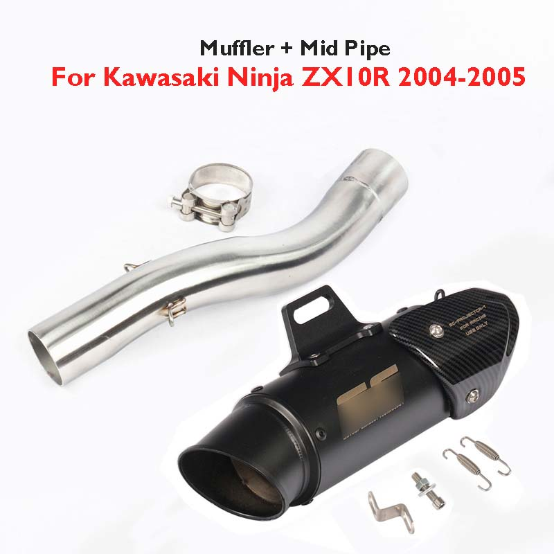 ZX 10R Motorcycle Exhaust System Muffler Baffler Tip Pipe Mid Link Pipe Slip on Exhaust System for Kawasaki Ninja ZX10 2004 2005-in Exhaust & Exhaust Systems from Automobiles & Motorcycles    1