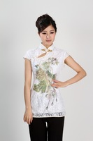 Chinese Traditional Costume Women S Lace Short Sleeve Shirt Size S To 3XL