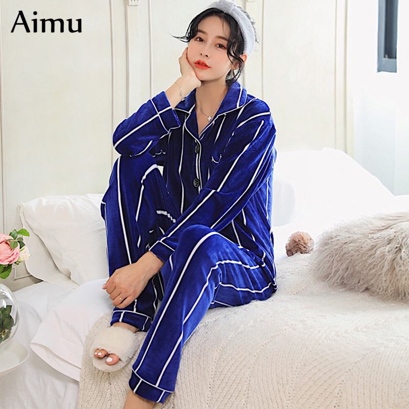 hot sale Winter Warm   Pajama     Set   stripe Flannel Sleepwear Deep Gold Velvet Sexy Homewear Pijama mujer Women   Pajamas   Long Pant   Set