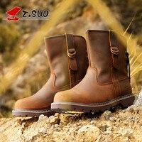 Z. Suo/Новинка 2018 года; мужская обувь на резиновой подошве; коричневые зимние модные мужские ботинки из натуральной кожи; повседневные мужские...