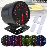 60MM 12V 9 x 1000 RAM 64 Backlights LED Electrical Car Tacho Gauge Meter Auto Tachometer with Speed Sensor