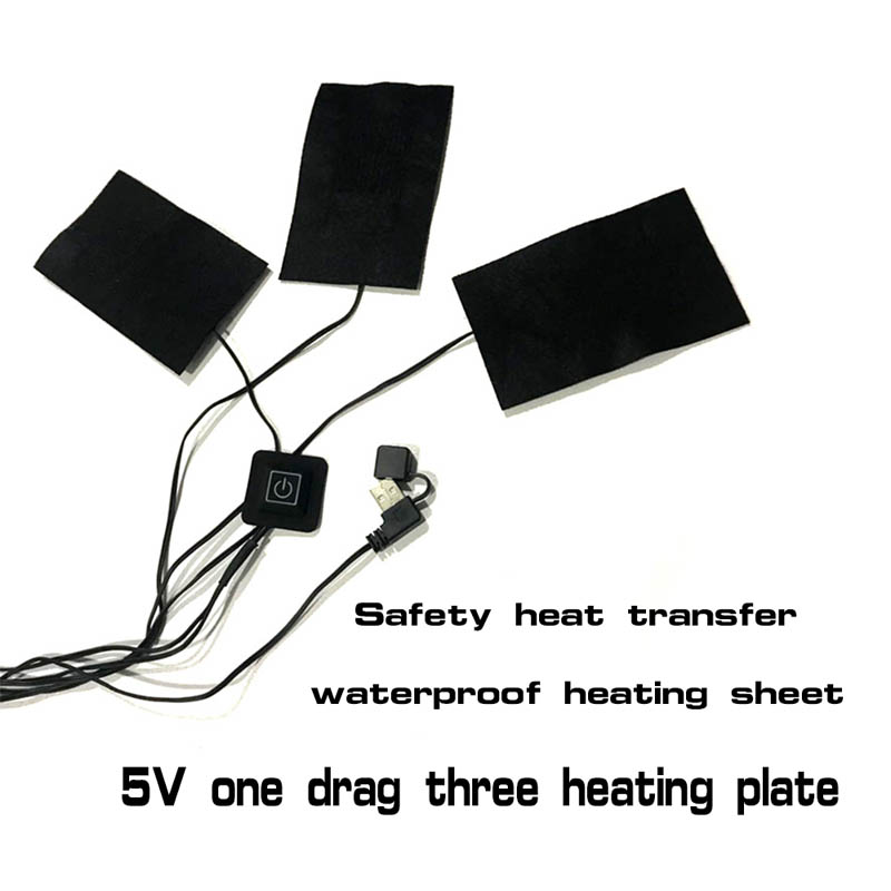 Dropshipping 1/2/3/5Pcs USB Carbon Fibre Electric Cloth Heater Pads Heating Warmer Vest Warming MDP66