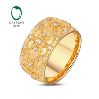 US8 5 Stock Ring 0 47ctw Natural Diamond 18KT Yellow Gold Full Eternity Milgrain Engagement Classicl