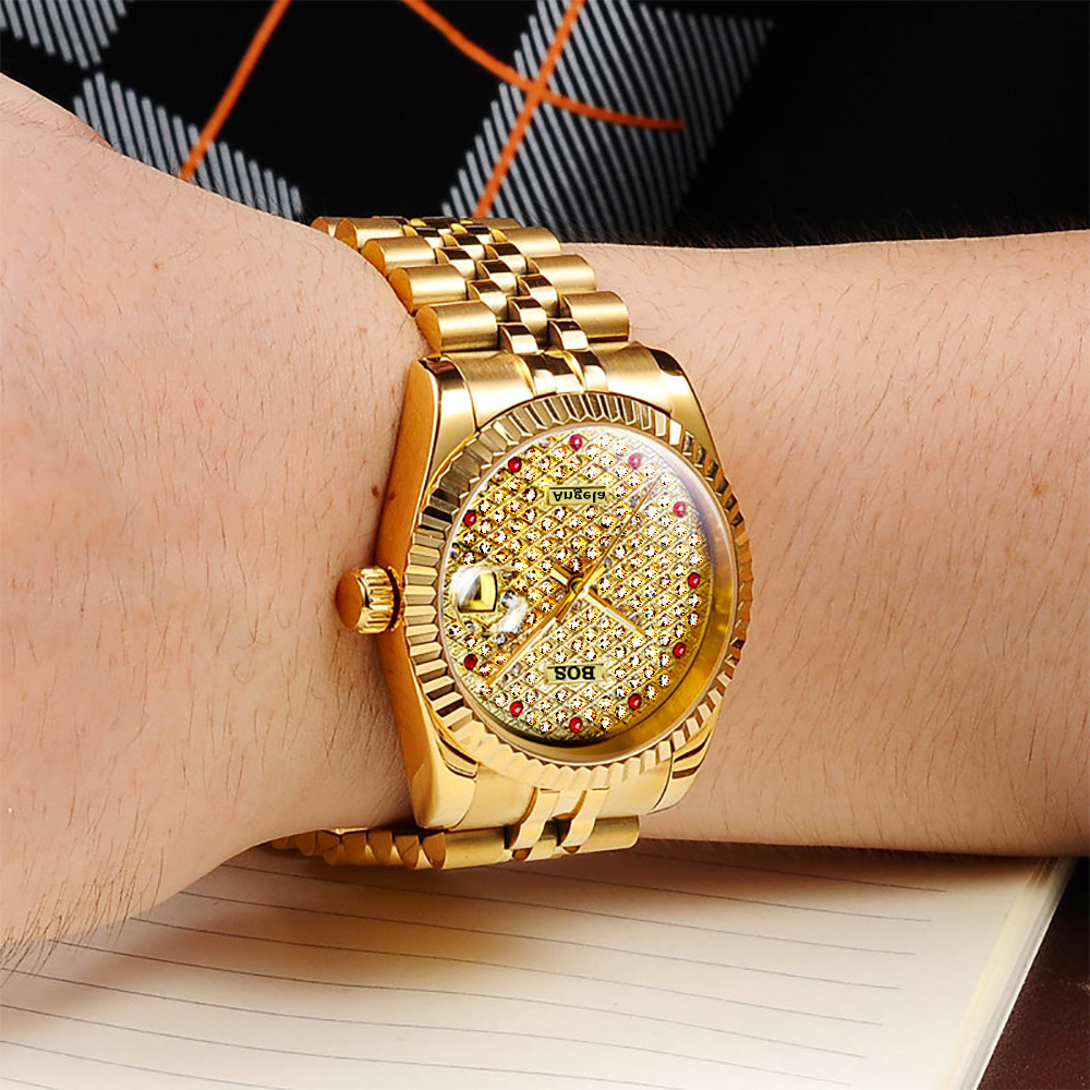 ANGELA BOS Full Rhinestones Gold Watch Men Top Quality Luxury Automatic Mechanical Stainless Steel Date Waterproof Wristwatch arte lamp a9070ap 1ab