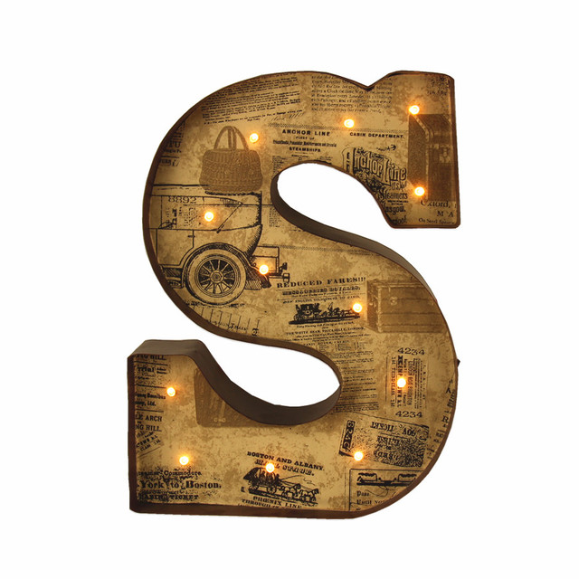 "Metal Letter Signs With Lights 12""vintage Metal Letters Light Led Marquee Sign Light Up Metal"