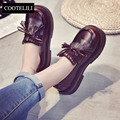 COOTELILI 35-39 Lolita shoes Casual shoes women Fashion Round toe Flat platform Soft Leather Girls Women flats