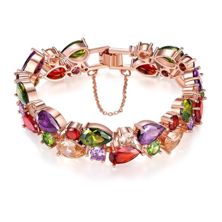 2019 New Europe Fashion Jewelry Mona Lisa Colored Zircon Bracelet Crystal from Austrian Fit DW for Women Wedding jewelry
