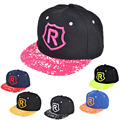 New Style Children Korean Letter R Embroidery Baseball Cap Summer Sun Hat Boys&Girls Outdoors Flat along the Hip-Hop Cap
