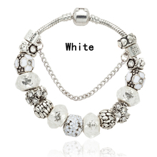 New Fashion Design Red Crystal Bracelet Antique Silver Color Charm Beads