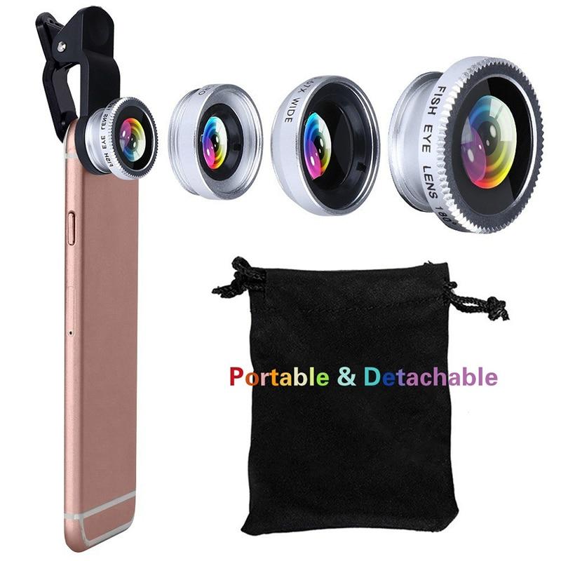 Universal 3 In1 De Ojo De Pez gran angular Macro Kit De la Lente De la Cámara De Clip para el teléfono móvil De Lentes De Ojo De Pez para iPhone/Huawei/Samsung