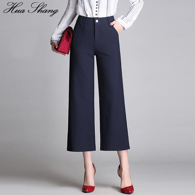 Summer   Pants   Women Big Size 2019 Fashion High Waist   Wide     Leg     Pants   Loose Plus Size Ladies Business Workwear Office Trousers
