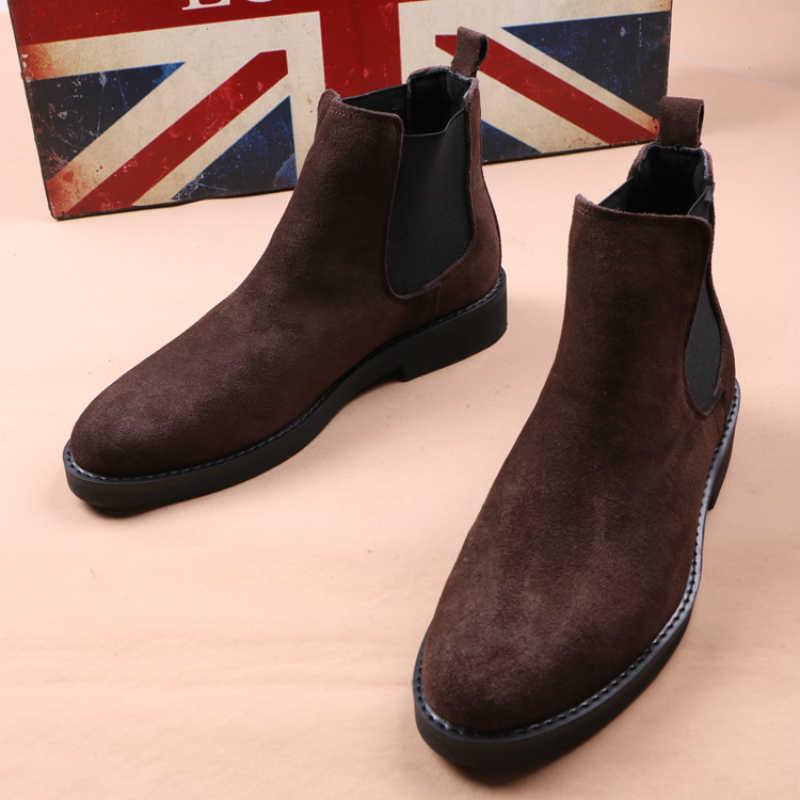 Britse stijl ontwerp heren mode zachte leren laarzen bruin chelsea laars nubuck korte laarsjes punt teen botas hombre schoenen