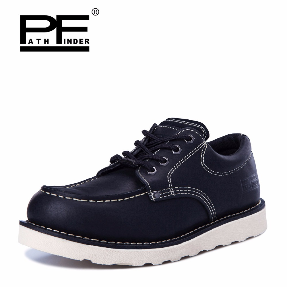 Pathfind Mens ankle boots de Couro genuíno 2019 botas de neve de Ferramentas de segurança Botas militares Homens sapatos Ao Ar Livre Sapatos da moda 2018 Retro marrom - 4