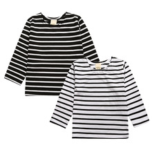 2017 new arrival spring autumn children clothes cotton long sleeve baby girl clothes striped T-shirt stylish design CS082