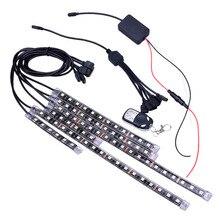 6 stücke 72LED Auto Fernbedienung licht bar Symphonie RGB FÜHRTE Auto Motorrad Chopper Rahmen Glow Lichter Flexible Neon Streifen Kit