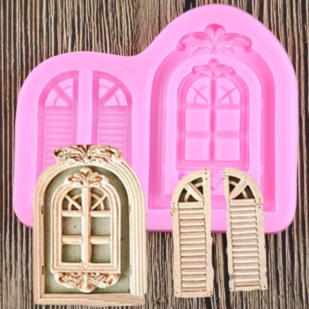 Fondant Cake Silicone Mold Deur Venster Grens Fotolijst Reverse Vormen Chocolade Keuken Decoratie Gereedschappen