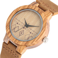 Bohemia reloj de madera pulso cuero