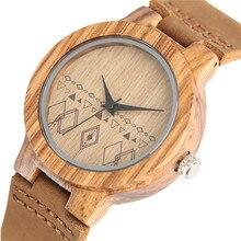 Minimalist Wood Watches Women Standard Size Bohemia Style Creative Bamboo Quartz Wristwatches Leather Analog Female Clock 2017