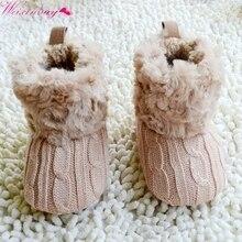 Детские вязаные меховые короткие теплые мягкие зимние ботинки с мягкой подошвой для маленьких мальчиков и девочек; 5 цветов; 0-18 месяцев