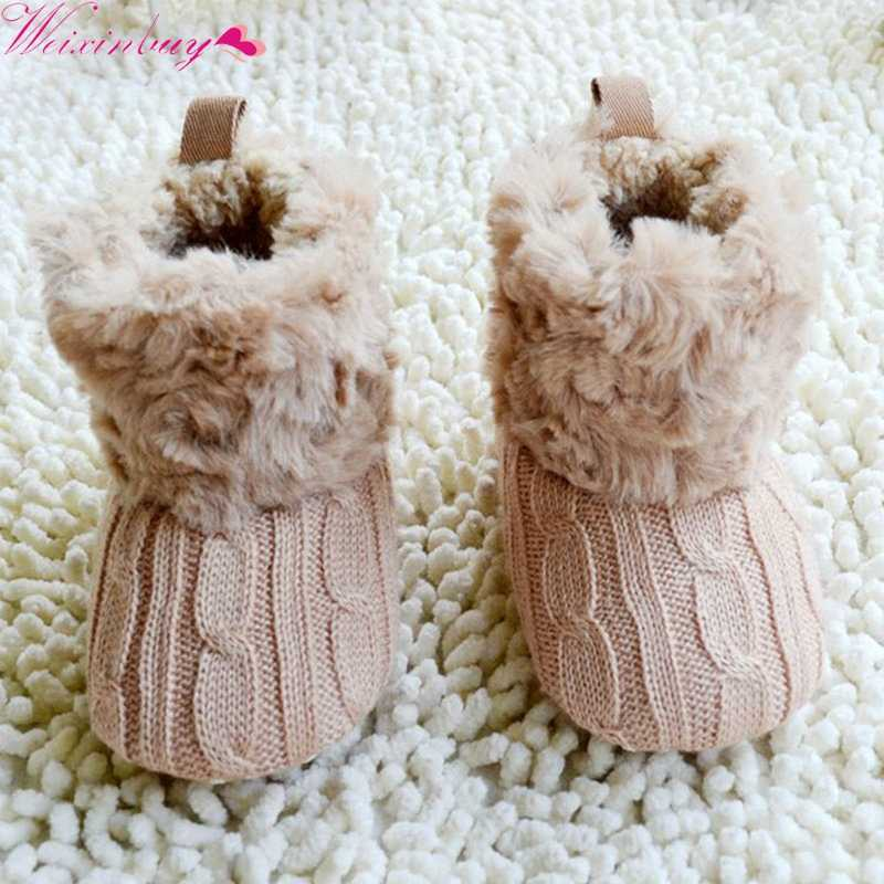 Baby Kid Boys Girls Knitted Fur 5 Color Toddlers Soft Sole Short Warm Soft Snow Boots Shoes 0-18 Months