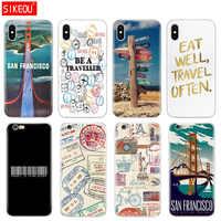 Étui pour téléphone en Silicone étui pour iphone 6X8 7 6 s 5 5 s SE Plus 10 XR XS Max étui timbres de signalisation de voyage san francisco