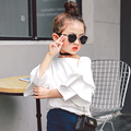 Детская девочка белая Футболка Футболка куртка 2017 новая весна все матч Корейских детей F013 O