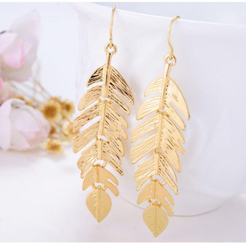 Hot Bijoux Rock Simple Exaggerated 18 K Gold Leaf Shaped Pendants Statement Long Drop Earrings for Women Fashion Jewelry gold earrings for women