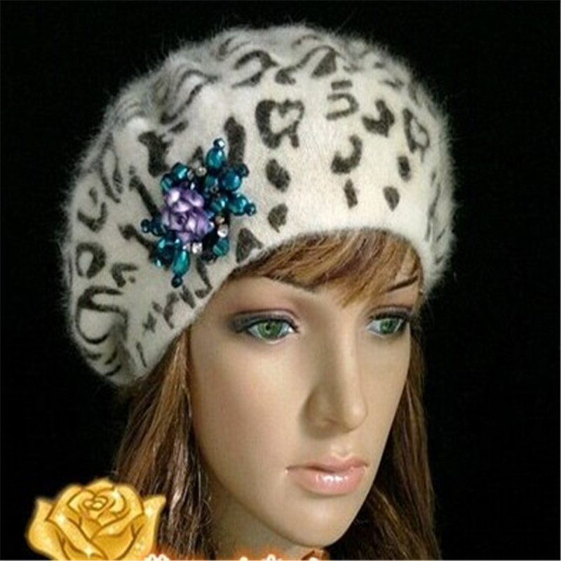 Cúpula leopardo Bailey chapéus boinas coelho mulheres chapéus de inverno  quente.   b42a80011fb