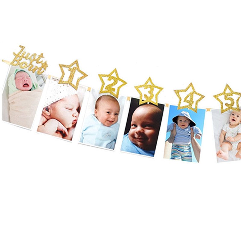 1set Newborn 1-12 Month Baby Photo Banner With Clip Baby Shower Gold Banner 1st Birthday Party Decorations Cartoon Hat
