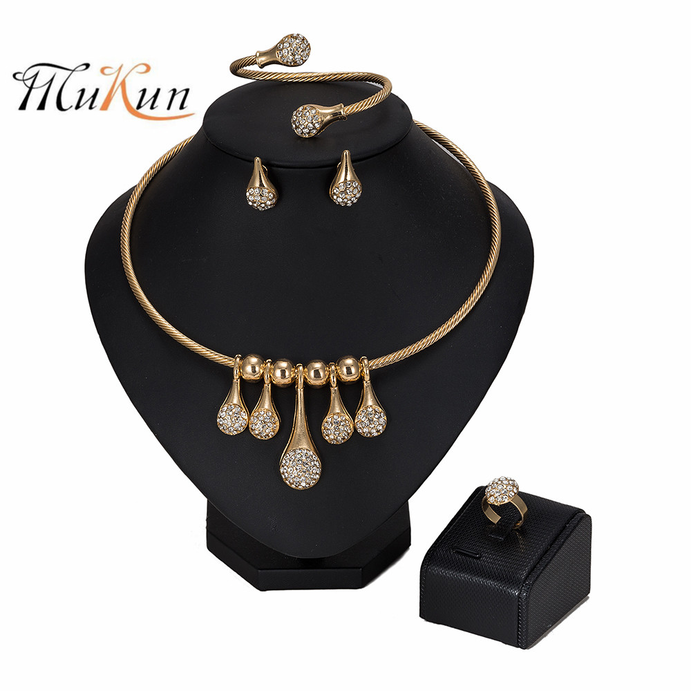 MUKUN Dubai Gold Jewelry Set Brand Fashion African Beads Necklace Ring Earrings Wedding woman accessories jewelry set Wholesale