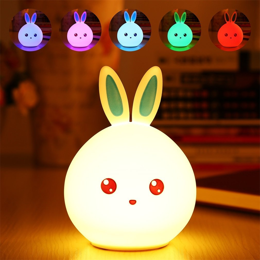 Cute Rabbit Multicolor Silicone Baby Nursery Lamp Touch Sensor Tap Control USB Rechargeable Kids Toy LED Table Night Bunny Light lumiparty touch cute dolphin usb rechargeable children night light baby whale multicolor led light silicone pat lamp bedside