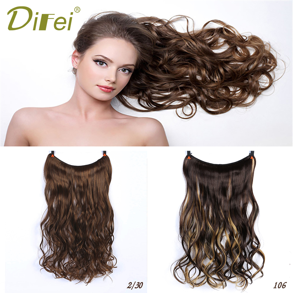 DIFEI Invisible Wire No Clips in 22 Inch Hair Extensions Heat Resistant Long Wavy Hair Extensions for Women