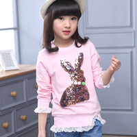 Rabbit Character Little Teenagers Girls T Shirt Long Sleeve Spring Autumn Sequined T Shirt For Girl
