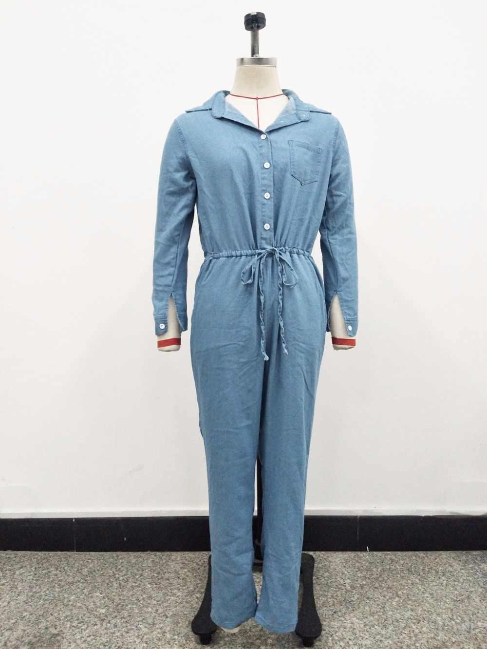 Модная обувь на шнуровке джинсы комбинезоны с пуговицами отложным воротником с длинным рукавом Для женщин Повседневное винтажные комбинезоны джинсовый комбинезон плюс Размеры 3XL