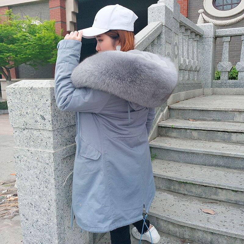 MaoMaoKong natürliche echt fox pelz Jacke mantel Echt Fox Pelz Kragen Mit Kapuze Mantel Kurzen Parka Lange Weiß winter jacke