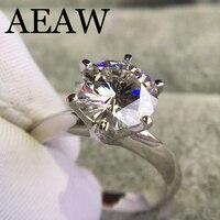 14 К белое Позолоченное серебряное кольцо 3.0ct 9 мм круглый вырез G Moissanite обручальное кольцо юбилейное кольцо Moissanite кольцо для женщин