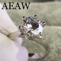 14K White Gold Plated Silver 3.0ct 9mm Round Cut G Moissanite Engagement Ring Anniversary Ring Moissanite Ring For Women