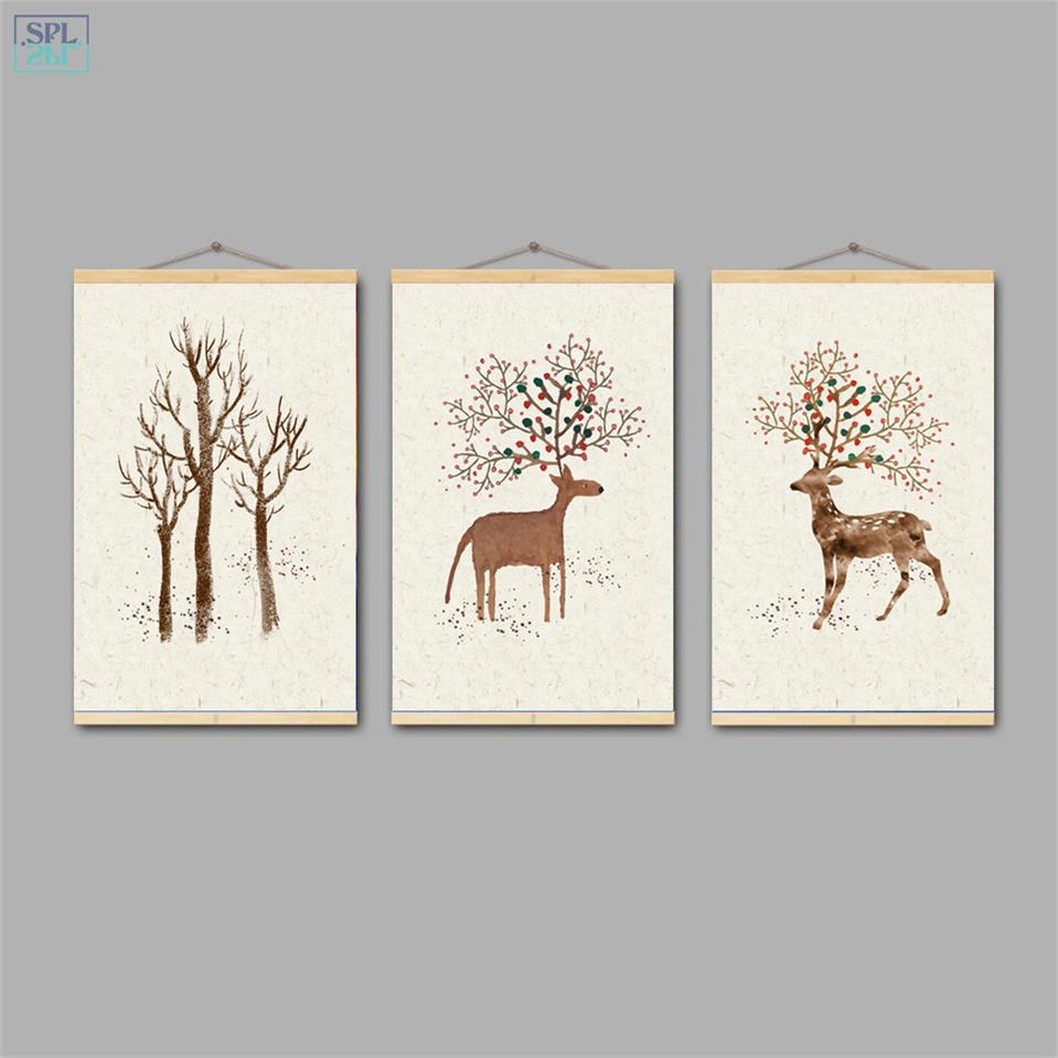 SPLSPL Elk Forest Landscape Retro Nordic Canvas Art Print Painting Hand Drawn Deer Decorative Wall Picture for Living Room