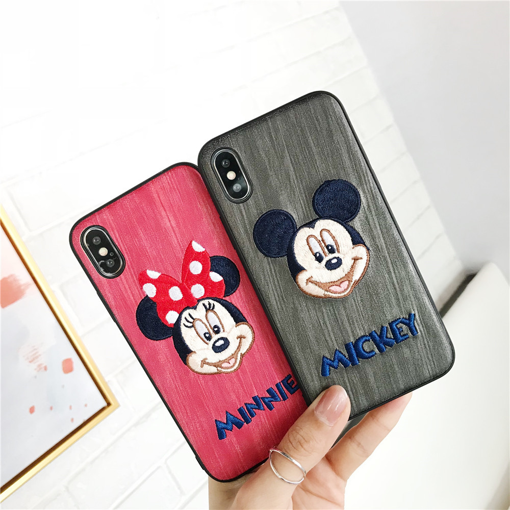 Cute Minnie Mickey Embroidery Couples Phone Case Covers For IPhone 7 8 Plus X XS MAX XR 6s 6 Plus Case Love Cartoon soft Fundas