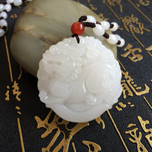 XinJiang White Jade PiXiu Pendant Necklace Drop Shipping Jade Stone  Brave Troops Lucky Amulet Necklace With Chain For Men Women недорого