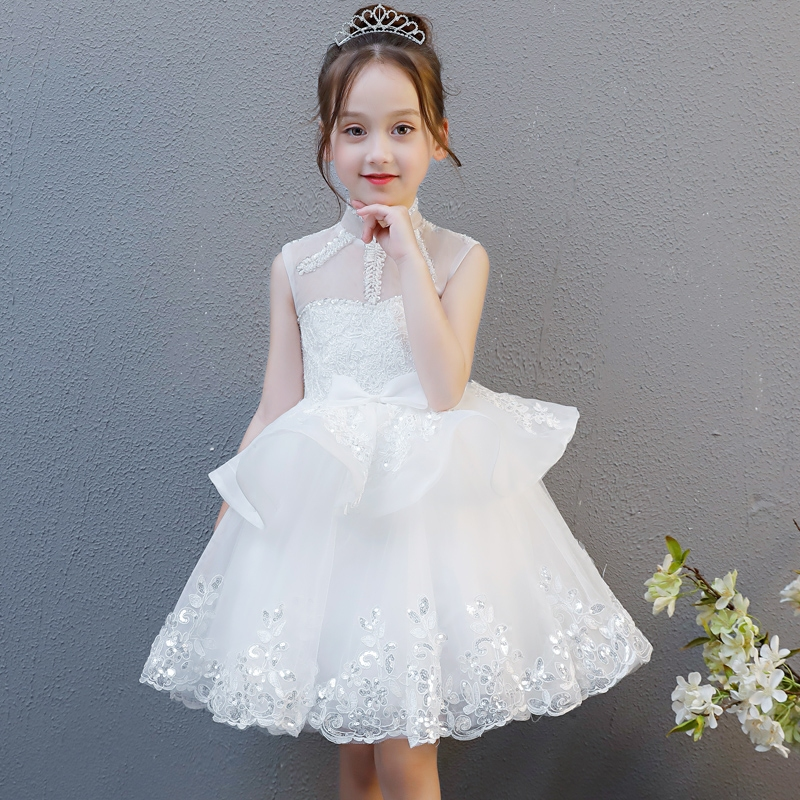 2018 New Luxury Baby Girls Floral Lace Princess Tutu Dress Wedding Christening Birthday Dress Girls Clothes For Kids Party Wear summer vintage lace dress sleeveless design sweet baby girl floral princess dress wedding christening gown dress girls clothes