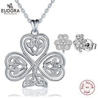 EUDORA 925 Sterling Silver Celtics Knot Jewelry Set Pendant Necklace geometric Tree Leaf Drop Earring Women Jewelry E32D112