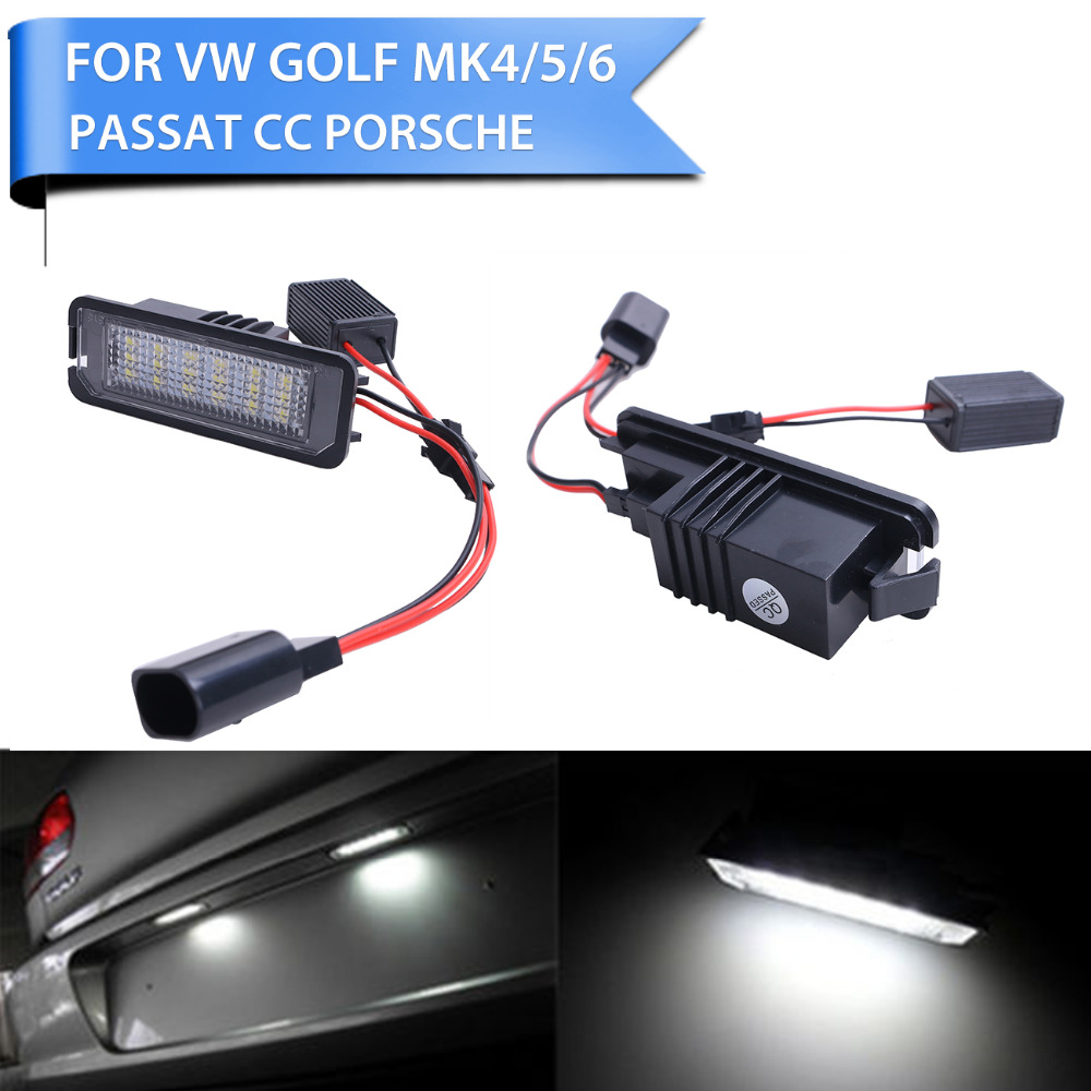 1Pair Error Free 18* LED Number License Plate Light for VW Volkswagen Golf 4 5 6 GTI EOS Lupo Passat Polo Car Lighting #P252  high quality plastic and led bulbs 2pcs white error free 18 led license plate light lamp kit for vw golf eos passat polo phaeton