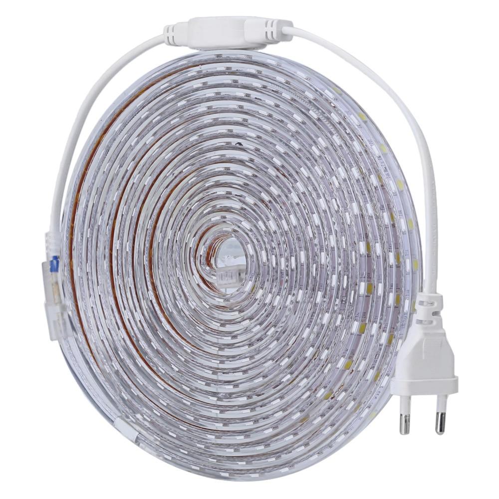 LED Strip <font><b>Light</b></font> SMD 5050 220V Flexible <font><b>Lights</b></font> 5m 60LEDs/m LED <font><b>Light</b></font> IP65 Waterproof LED Tape Ribbon Lamp + Power Strip EU PLUG